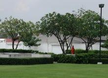 Moine bouddhiste marchant dans le jardin pendant le jour ensoleillé Photo stock