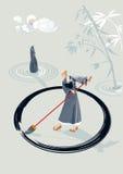 Moine de zen peignant un cercle Photos stock