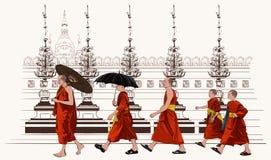 Moines bouddhistes marchant dans un temple illustration stock