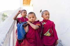 Moines de novice à l'école de monastère de Diskit dans la région de Ladakh, Inde Photographie stock