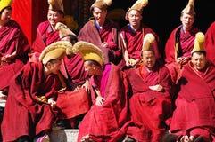 Moines tibétains image libre de droits