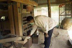 Moinho de arroz tailandês do fazendeiro imagens de stock royalty free
