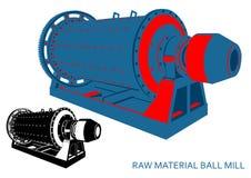 Moinho de bola da matéria prima azul-vermelho ilustração stock