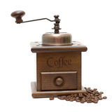 Moinho de café do vintage isolado no branco Imagens de Stock
