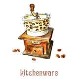 Moinho de caf? e feij?es de caf? watercolor ilustração stock
