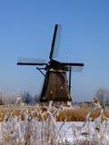Moinho de Kinderdijk no inverno Imagens de Stock