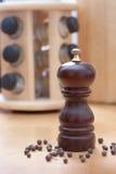 Moinho de madeira para a pimenta preta Imagens de Stock