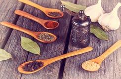Moinho de pimenta dos vegetais do fundo do alimento biológico Fotos de Stock Royalty Free