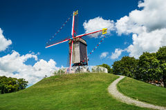 Moinho de Sint-Janshuis, Bruges Fotos de Stock