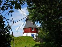 Moinho de vento atrás das árvores Imagem de Stock