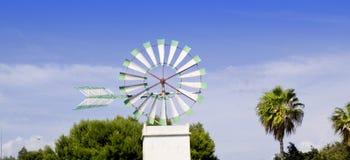 Moinho de vento branco de Majorca em Palma de Mallorca Fotos de Stock Royalty Free