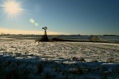 Moinho de vento congelado fotografia de stock