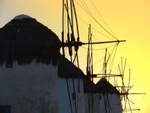 Moinho de vento de Mykonos Fotos de Stock
