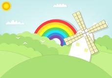 Moinho de vento dos desenhos animados no campo de grama Fotos de Stock