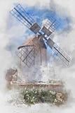 Moinho de vento em Fuerteventura, aquarela ilustração do vetor