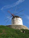 Moinho de vento em Mykonos Fotos de Stock