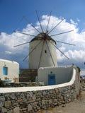 Moinho de vento em Mykonos Foto de Stock