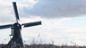 Moinho de vento de gerencio do lapso de tempo do kinderdijk, Países Baixos video estoque