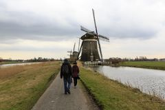Moinho de vento holandês, Leidschendam perto de Den Haag Foto de Stock Royalty Free