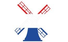 Moinho de vento holandês no azul branco vermelho Imagens de Stock