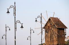 Moinho de vento de madeira Nessebar Bulgária Fotografia de Stock