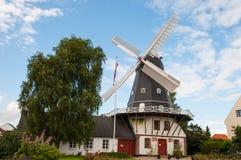 Moinho de vento na cidade de Ringsted em Dinamarca fotografia de stock