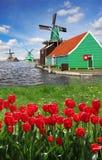 Moinho de vento na Holanda com canal Foto de Stock