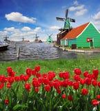 Moinho de vento na Holanda com canal Imagem de Stock