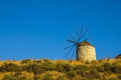 Moinho de vento na ilha de Naxos, os Cyclades, Grécia Imagem de Stock Royalty Free