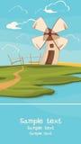 Moinho de vento no campo Fotografia de Stock Royalty Free