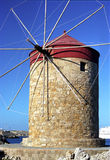 Moinho de vento o Rodes Greece Fotos de Stock