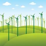 Moinho de vento ou fundo verde da fonte de energia Imagens de Stock