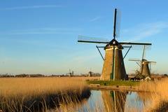 Moinho de vento Países Baixos Sun Fotografia de Stock Royalty Free