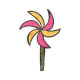 moinho de vento retro do brinquedo dos desenhos animados Fotos de Stock
