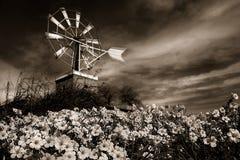 Moinho de vento sob o céu dramático imagens de stock