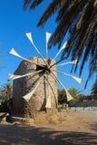 Moinho de vento velho, ilha da Creta, Grécia Fotografia de Stock