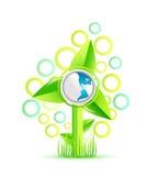 Moinho de vento verde Ilustração do Vetor