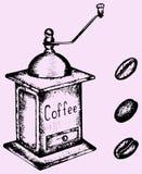 Moinho e feijões do moedor de café Foto de Stock Royalty Free