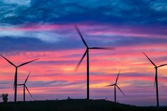 Moinhos das energias eólicas, Tailândia fotografia de stock