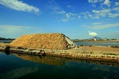 Moinhos de sal de Trapani & bacias, Sicília Fotografia de Stock