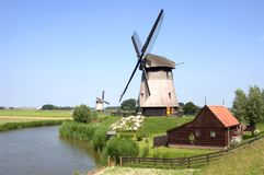 Moinhos de vento - cena rural Fotografia de Stock Royalty Free
