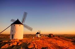Moinhos de vento Consuegra de Don Quixote, Toledo Spain imagem de stock