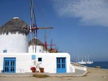 Moinhos de vento de Mykonos Imagens de Stock