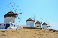 Moinhos de vento de Mykonos Fotos de Stock Royalty Free