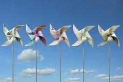 Moinhos de vento do brinquedo do dinheiro Fotos de Stock Royalty Free