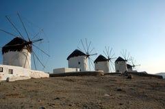 Moinhos de vento em Mykonos Fotografia de Stock
