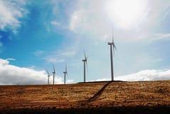 Moinhos de vento em uma planície vasta Imagem de Stock Royalty Free
