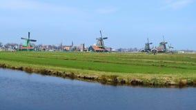Moinhos de vento em Zaanse Schans video estoque