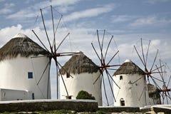 Moinhos de vento famosos de Mykonos Fotos de Stock