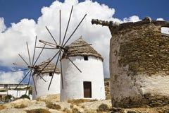 Moinhos de vento gregos Foto de Stock Royalty Free